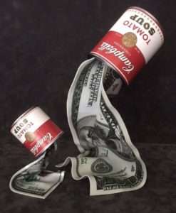 Liquid Dollar Campbell Can Sculpture – Ad van Hassel